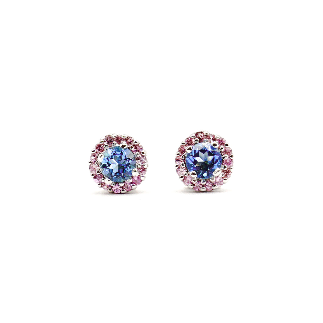 Blue Topaz And Natural Pink Sapphire Halo Earrings 18K White Gold