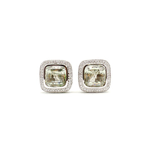 Prasiolite Cushion Cut With Diamond And Tsavorite Halo Earrings Set in 18k White Gold
