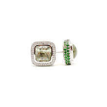 Load image into Gallery viewer, Prasiolite Cushion Cut With Diamond And Tsavorite Halo Earrings Set in 18k White Gold