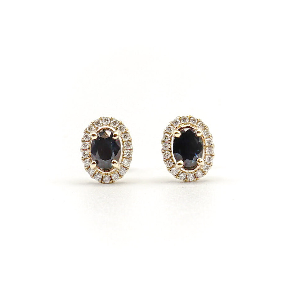 14K  Yellow Gold Blue Sapphire And Diamond Halo Stud Earrings