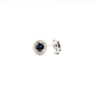14K White Gold Natural Oval Blue Sapphire 10x8mm with Oval Halo Diamonds