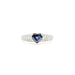 Sapphire 1.11 Carat Diamond 18 Karat White ladies Ring
