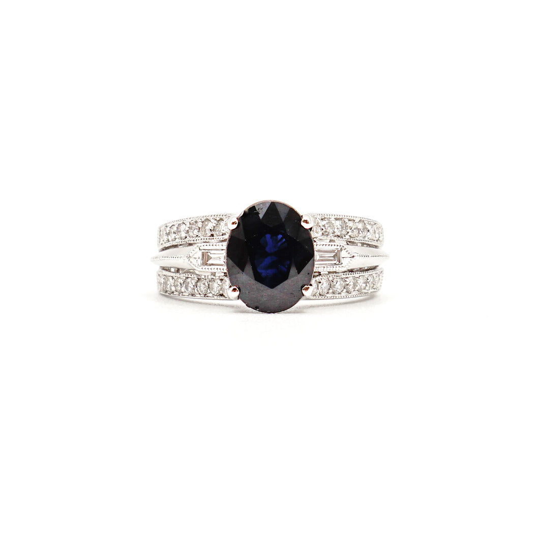 14K White Gold Sapphire And Diamonds Pave Wide Ring
