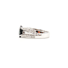 Load image into Gallery viewer, 14K White Gold Sapphire And Diamonds Pave Wide Ring