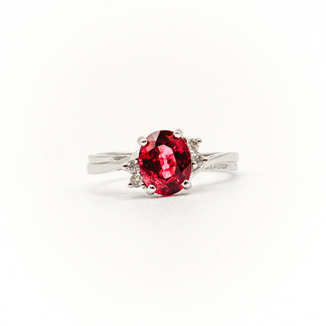 14K White Gold Oval Rhodolite, Rose Garnet, and Diamond Ring