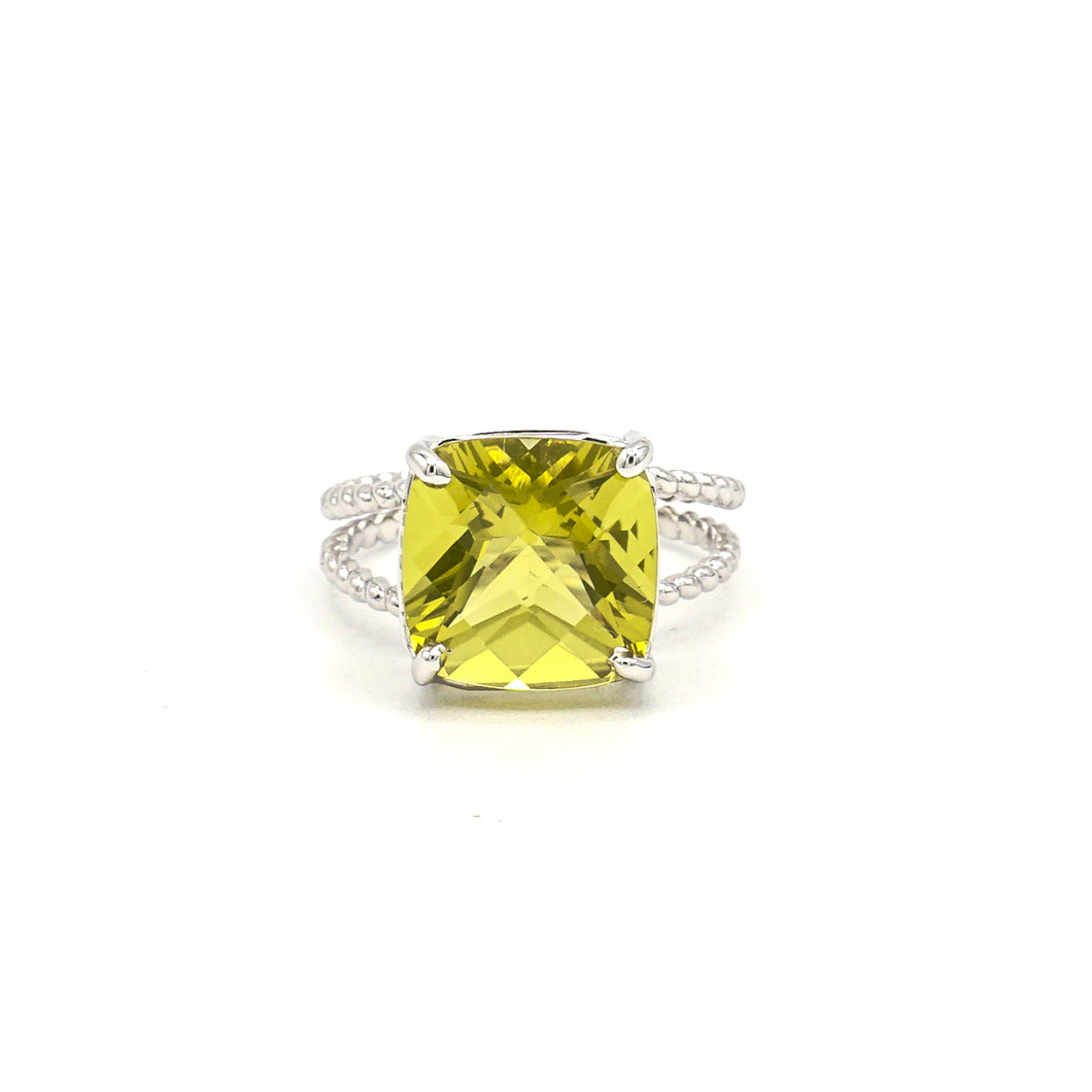 14K White Gold Lime Cushion Checkered Cut Citrine on Braided Ring