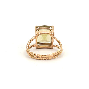 14K Rose Gold Special Cut Green Citrine on Braided Ring