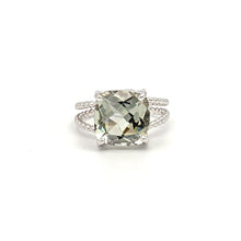 Load image into Gallery viewer, 14K White Gold Cushion Cut Prasiolite (Green Amethyst) on Braided Ring