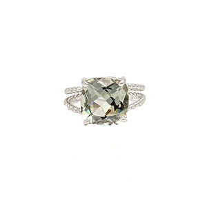 14K White Gold Cushion Cut Prasiolite (Green Amethyst) on Braided Ring