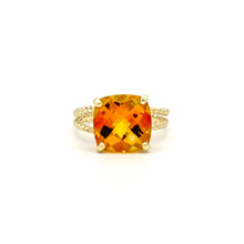 Load image into Gallery viewer, 14K Yellow Gold Orange Cushion checkered Cut Citrine on Braided Ring