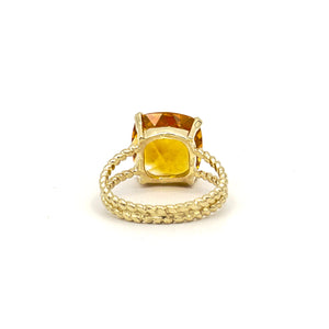 14K Yellow Gold Orange Cushion checkered Cut Citrine on Braided Ring