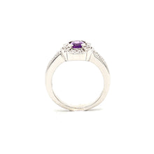 Load image into Gallery viewer, 14K White Gold Amethyst and Diamond Ring