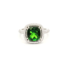 Load image into Gallery viewer, 18K White Gold Green Chrome Diopside on Diamond Halo Ring