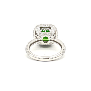 18K White Gold Green Chrome Diopside on Diamond Halo Ring