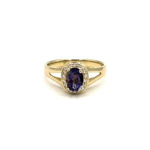 18k Yellow Gold Tanzanite & Diamond Oval Halo Ring
