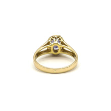 Load image into Gallery viewer, 18k Yellow Gold Tanzanite & Diamond Oval Halo Ring