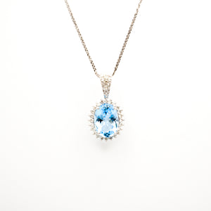 14K White Gold Oval Topaz Pendant With Diamond Halo and Bail