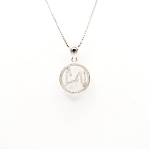 "14K White Gold ""LV""  Diamond Initials neckalce"