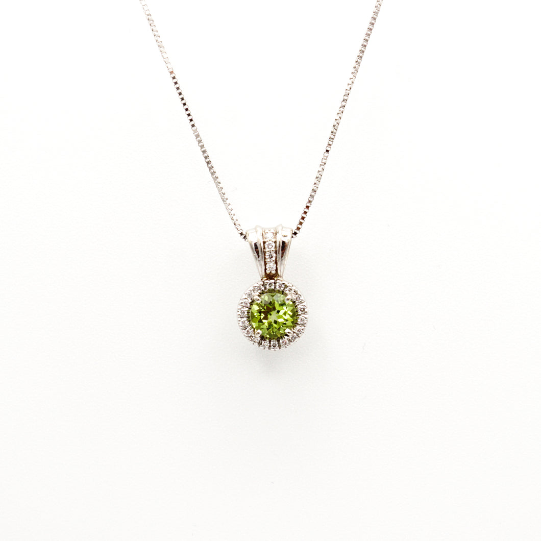 18K White Gold Peridot Pendant with Diamond Halo Necklace