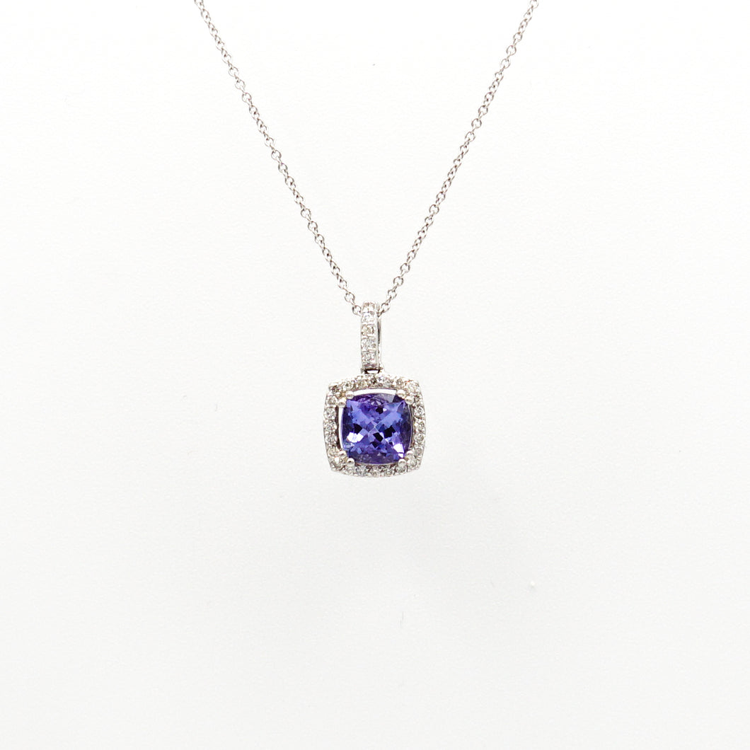 14K White Gold Tanzanite & Diamond Halo Pendant with Gold Necklace