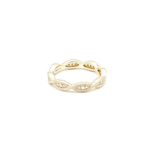 14K Rose Gold Stackable Eternity Diamond Band - BRI01433
