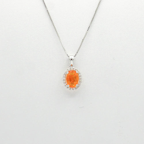 14K White Gold Mexican Fire  Opal and Diamond Pendant with 16'' Necklace - COLJ01226