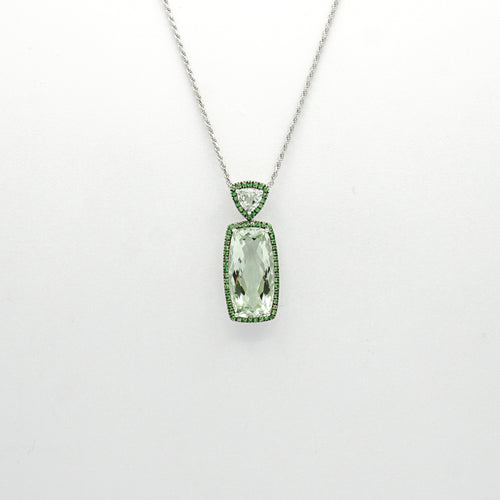 18K Prasiolite and Tsavorite Pendant with 16'' Necklace - COLJ00743