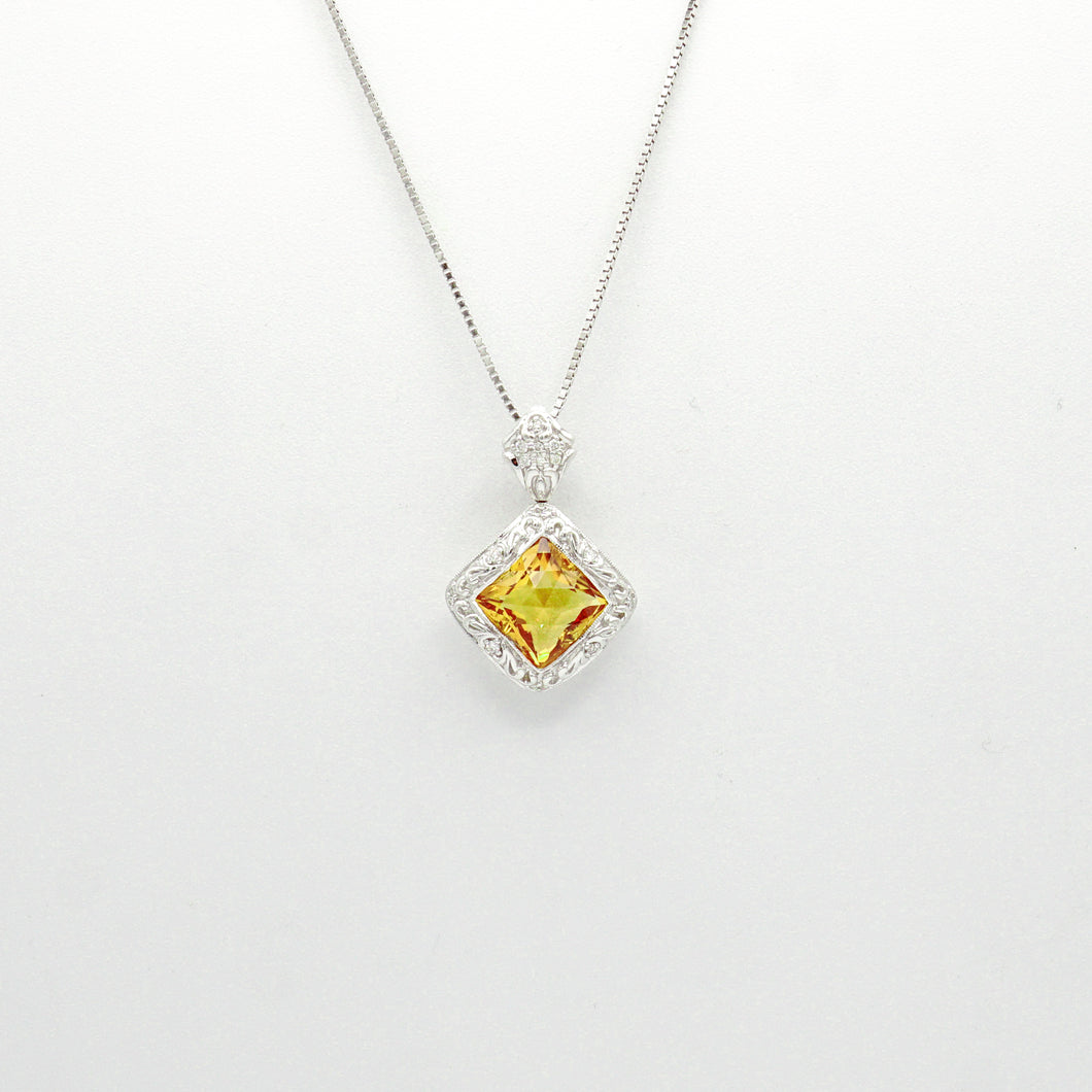 18K White Gold Citrine and Diamond Pendant and 16'' Necklace