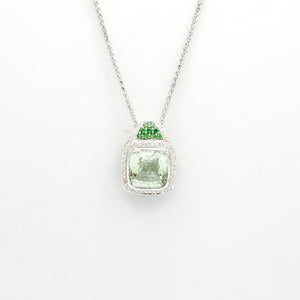 18k White Gold Prasiolite (Green Amethyst) With Diamonds and Tsavorite Pendant with 16'' neckalce