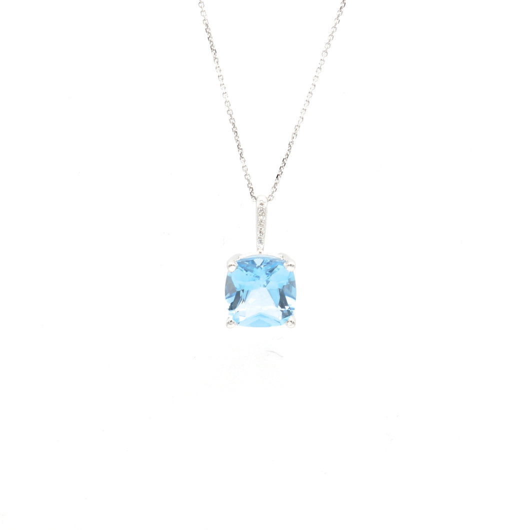 14K White Gold cushion Cut Blue Topaz with Diamond Accents
