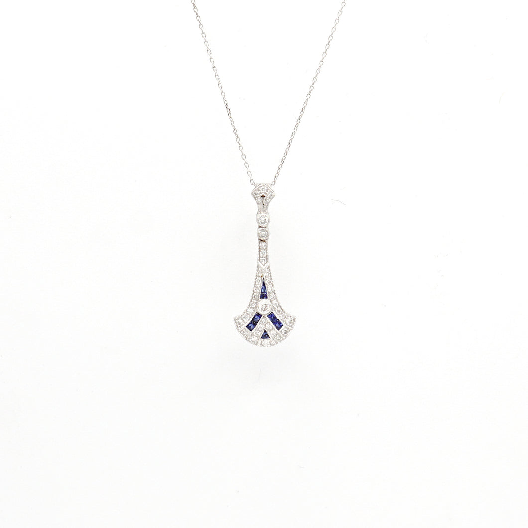 18K White Gold Sapphire And Diamond Designer Necklace