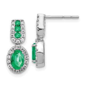 14k White Gold Diamond & Emerald Earrings 0.308ctw