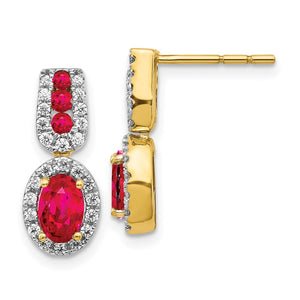 14k Yellow Gold Diamond & Ruby Earrings 0.308ctw
