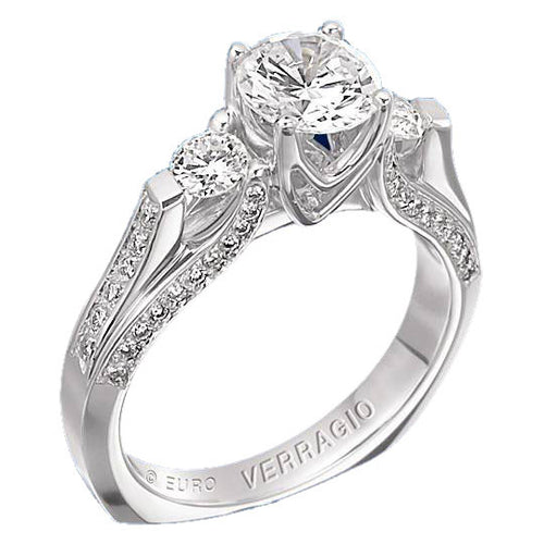 Verragio Euro Collection Ladies Round Cut Platinum Engagement Ring - Le Vive Jewelry in Riverside