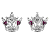 Ruby Crown Earrings, 18k White Gold