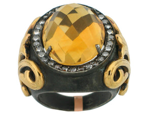 Citrine Ring, Blackend Sterling Silver & 22k Yellow Gold - Le Vive Jewelry in Riverside