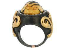 Load image into Gallery viewer, Citrine Ring, Blackend Sterling Silver & 22k Yellow Gold - Le Vive Jewelry in Riverside