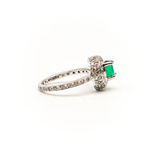 Load image into Gallery viewer, 18K White Gold Halo Basket with Natural Emerald Eternity Ring