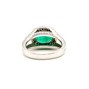 14K White Gold 3CT Oval Emerald Halo Ring with Diamonds