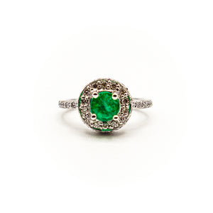 18K White Gold Halo Basket with Natural Emerald Eternity Ring