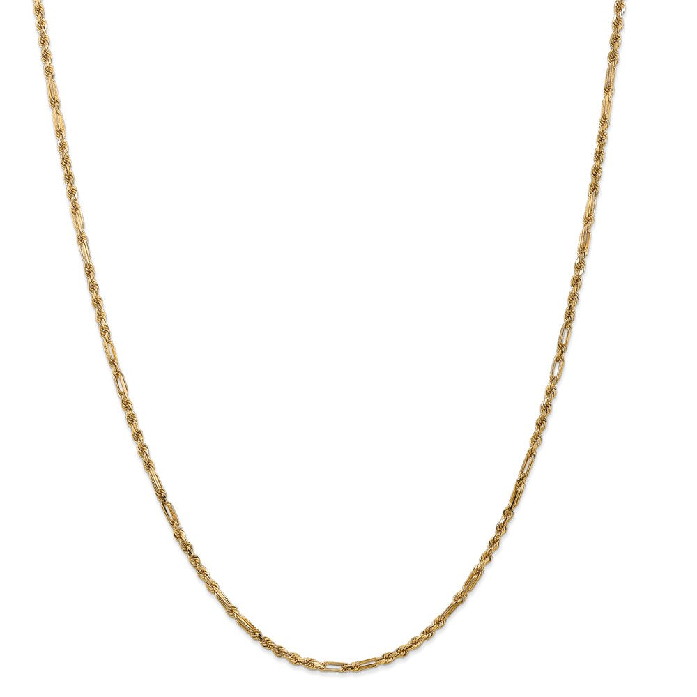 14k 2.5mm Diamond-Cut Milano Rope Chain