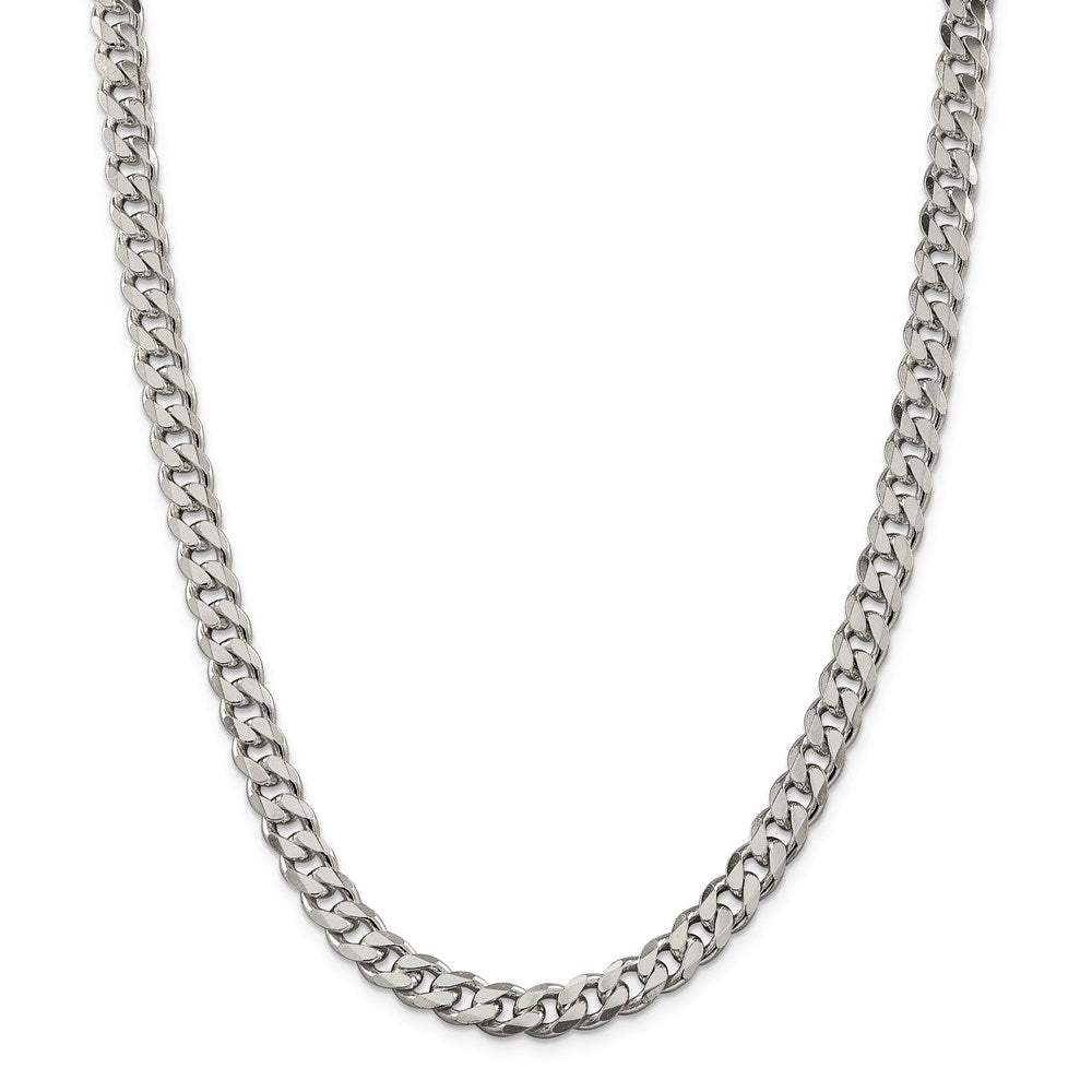 Sterling Silver 8mm Curb Chain-Lobster Clasp