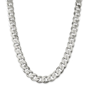 Sterling Silver 15mm Curb Chain-Lobster Clasp