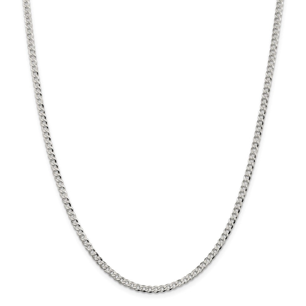 Sterling Silver 3.2mm Beveled Curb Chain- Lobster Clasp