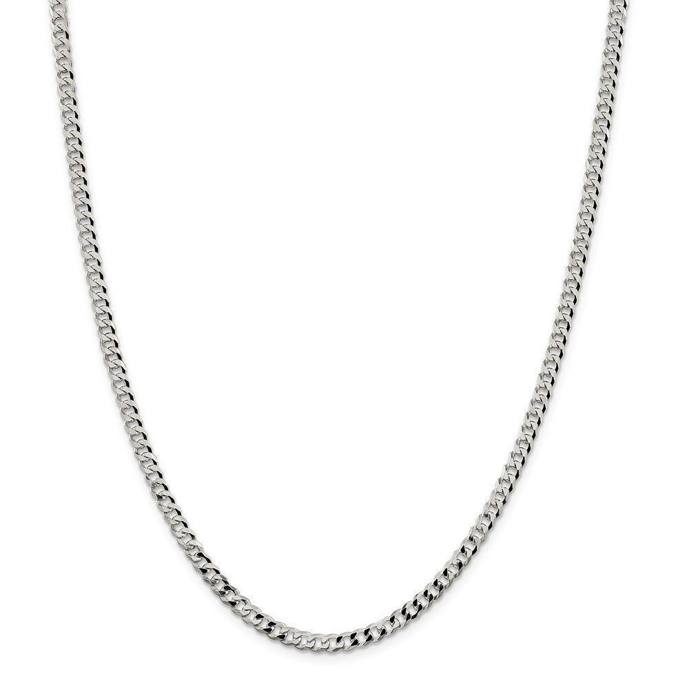 Sterling Silver 4mm Beveled Curb Chain- Lobster Clasp