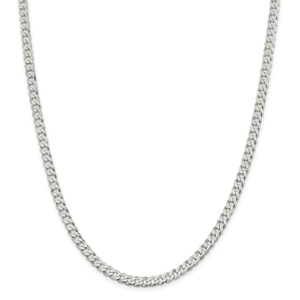Sterling Silver 4.5mm Beveled Curb Chain- Lobster Clasp