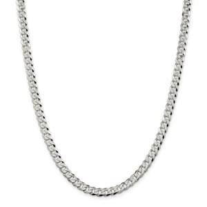 Sterling Silver 6mm Beveled Curb Chain- Lobster Clasp