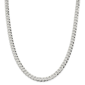 Sterling Silver 7.00mm Beveled Curb Chain- Lobster Clasp
