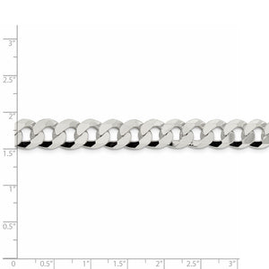 Sterling Silver 10.6mm Beveled Curb Chain- Lobster Clasp