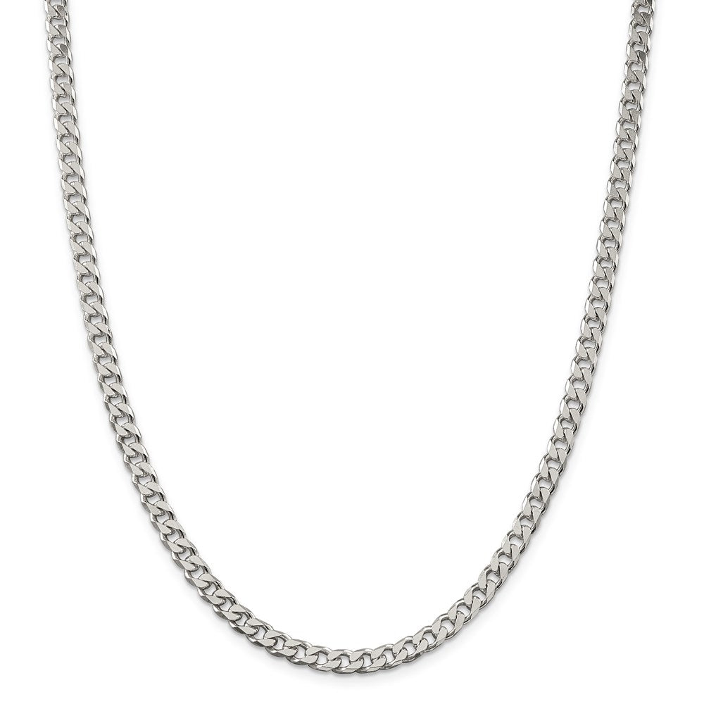 Sterling Silver Polished 5.0mm Curb Chain- Lobster Clasp